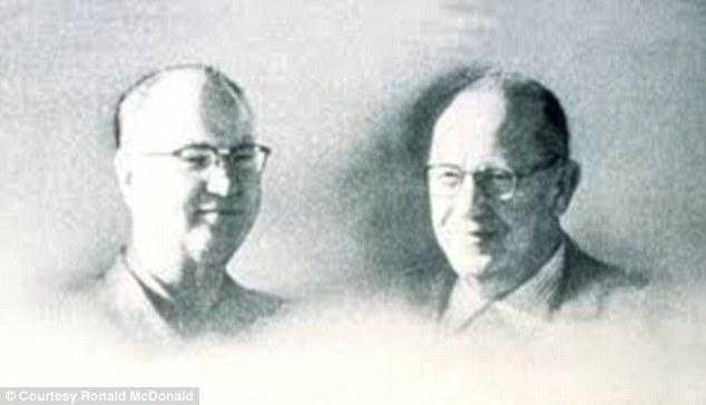 """Los creadores: Hermanos Richard 'Dick' y Maurice """"Mac"""" McDonald crearon el primer restaurante de la cadena que conquistó al mundo, pero vendieron su idea y perdieron en millones. Foto: Cortesía Ronald McDonald / The Daily Mail / RT"""